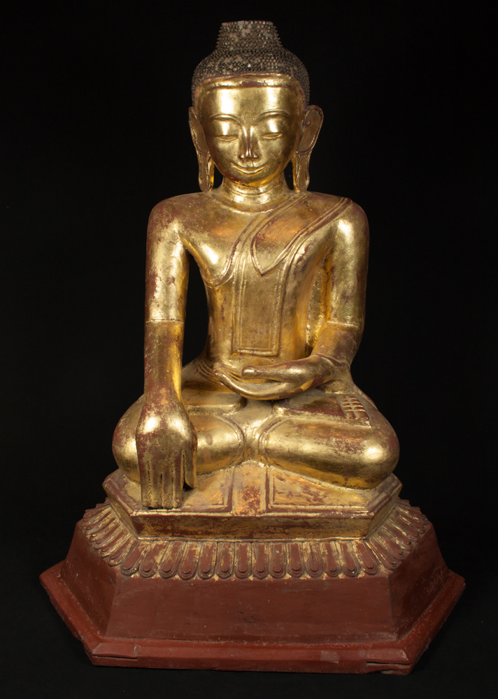 Antique lacquer Ava Buddha statue from Burma