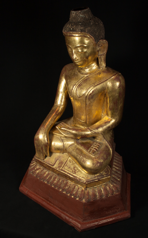 Antique lacquer Ava Buddha statue from Burma made from lacquer
