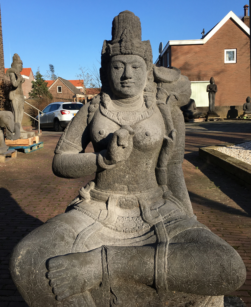 Large lavastone Devi Tara statue from Indonesia made from Lavastone