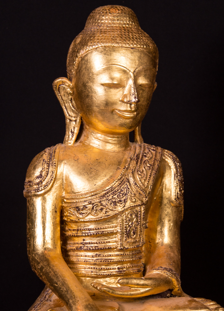 Old lacquerware Buddha statue from Burma made from lacquer
