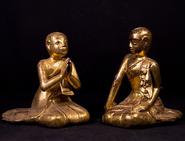 Pair of antique monk statues
