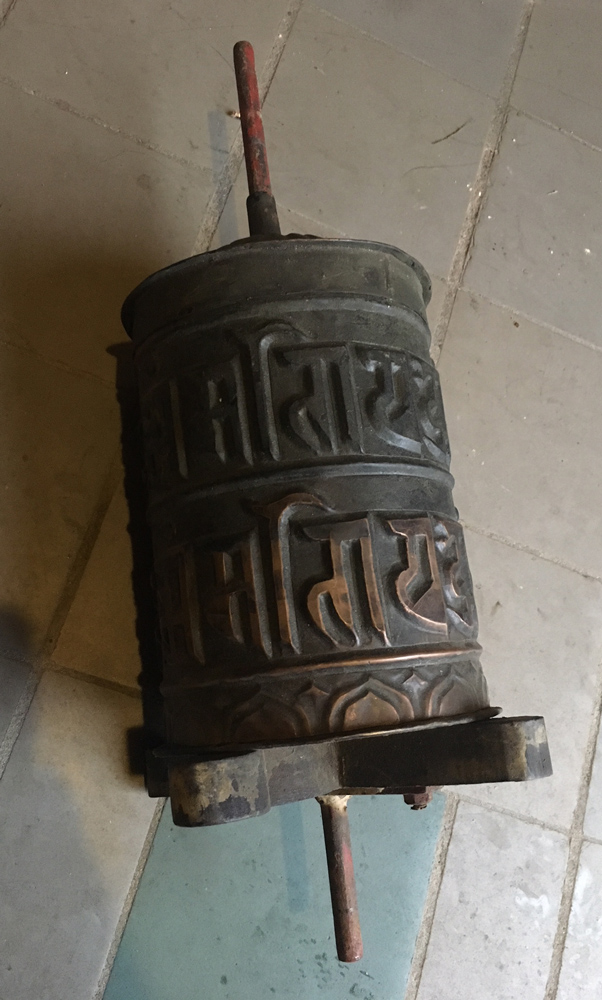 Antique Nepali Praying Wheel from Nepal made from Copper