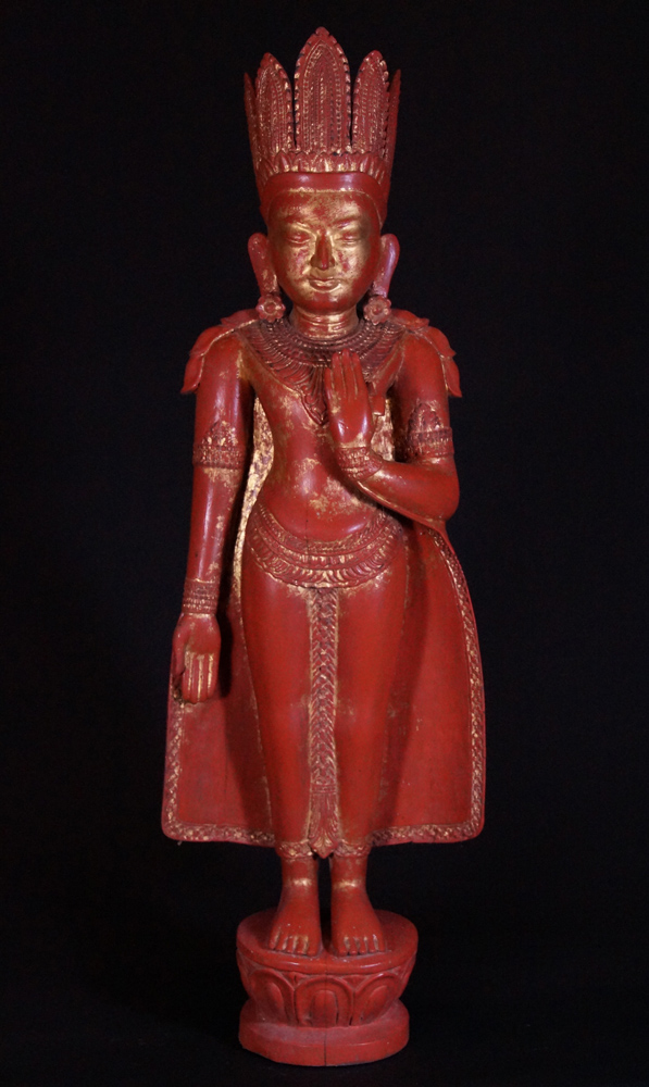 Old standing crowned Buddha statue from Burma