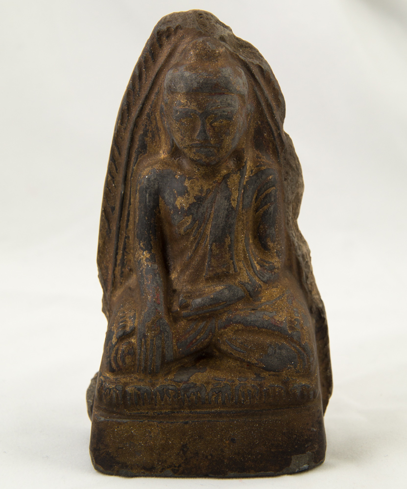 Antique Burmese Buddha amulet from Burma made from Pottery