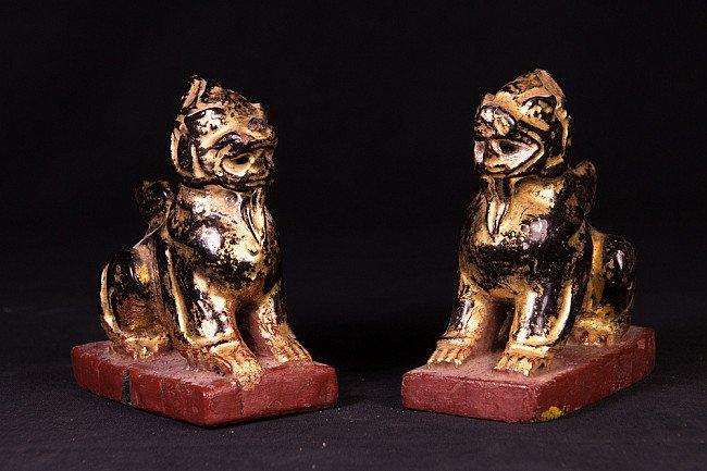 Set of antique temple lions