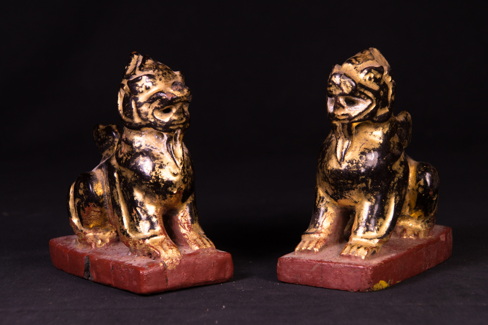 Set of antique temple lions from Burma made from Wood