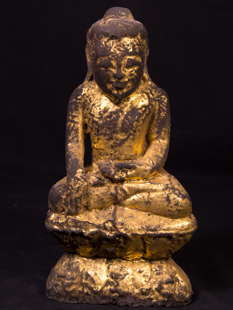 Antique solid lacquerware Buddha statue from Burma made from lacquer