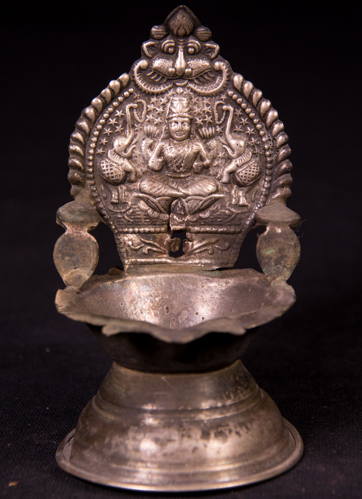 Antique silver oil lamp from India