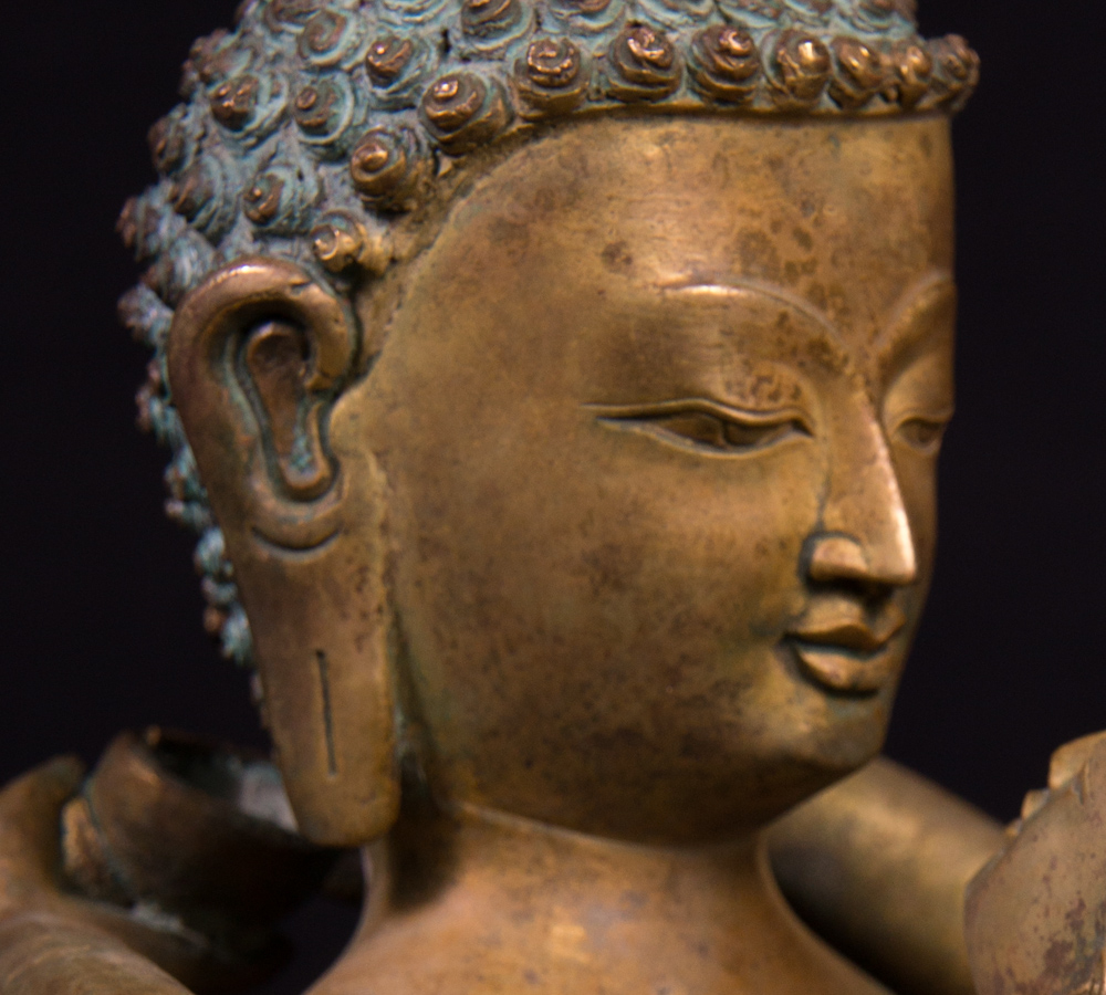 Old bronze Buddha - Shakti statue from Nepal made from Bronze