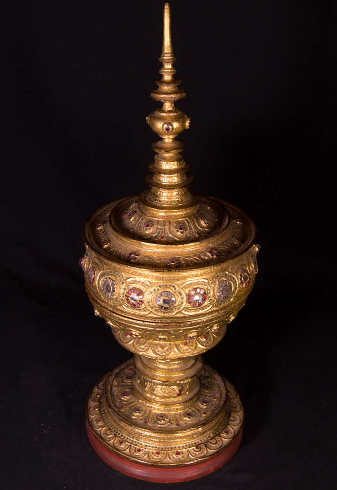 Antique Burmese offering vessel from Burma made from Wood