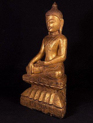 Antique wooden Ava Buddha statue