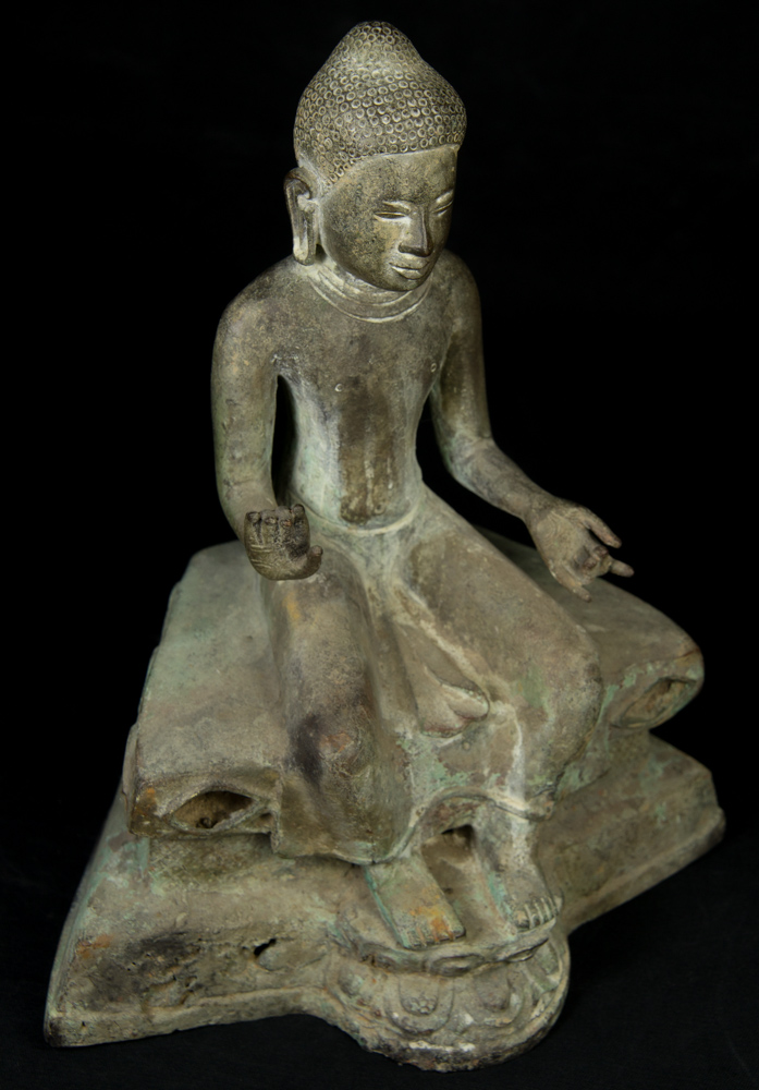 Old bronze Pyu Buddha statue from Burma made from Bronze