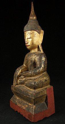Antiek houten Shan Boeddhabeeld