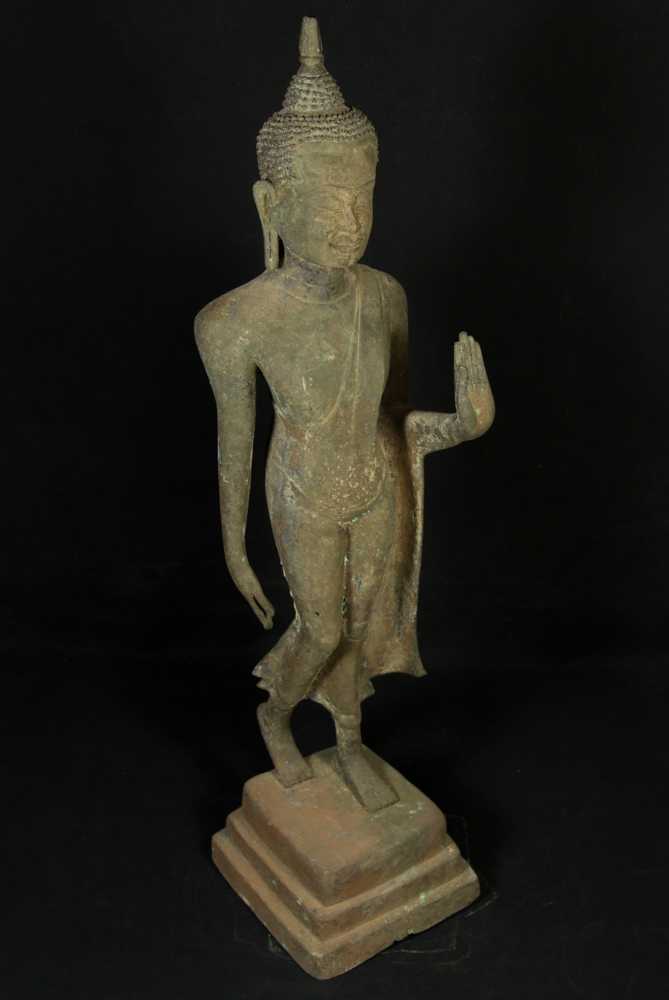 Antique bronze U-Thong Buddha statue from Thailand made from Bronze
