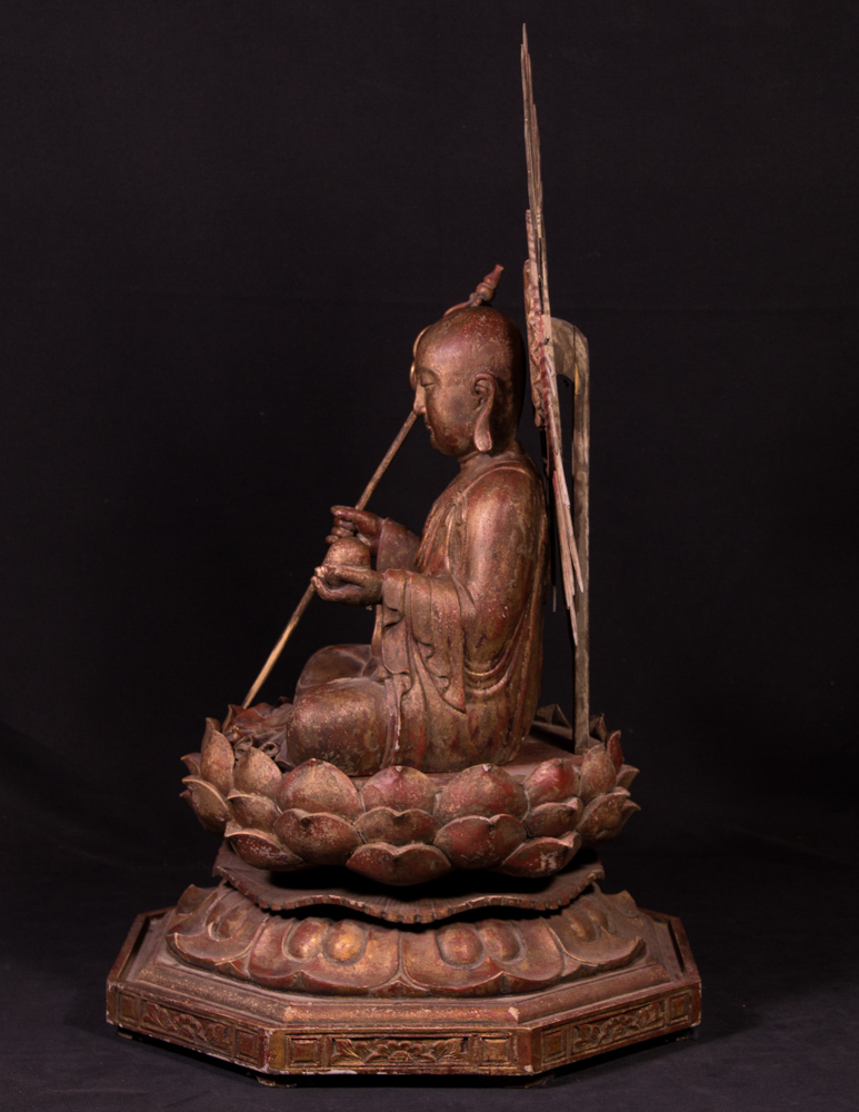 Large Japanese Jizo monk statue from Japan made from Wood