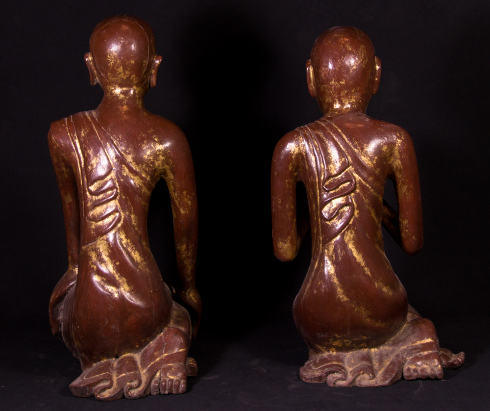 Old set wooden monk statues from Burma made from Wood