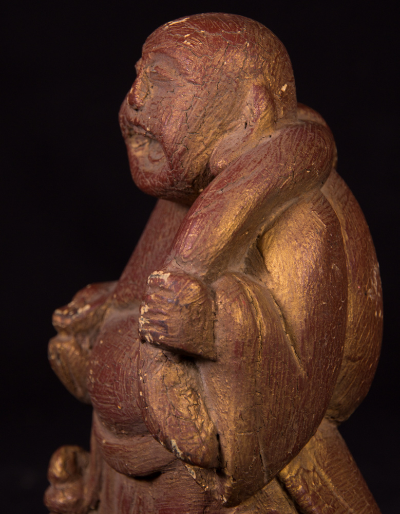 Alte lachende buddha figur aus birma gemacht aus holz for Buddha figur holz