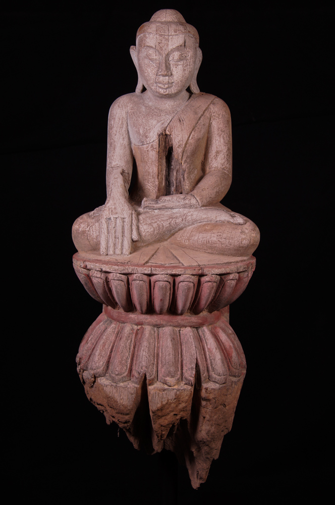 Antique Burmese Buddha on a high base from Burma