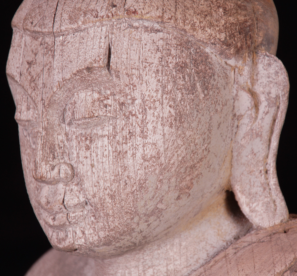Antique Burmese Buddha on a high base from Burma made from Wood