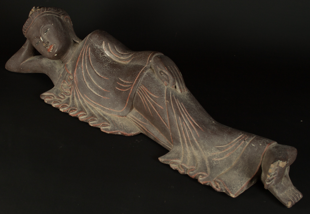 Old reclining Buddha statue from Burma made from Wood