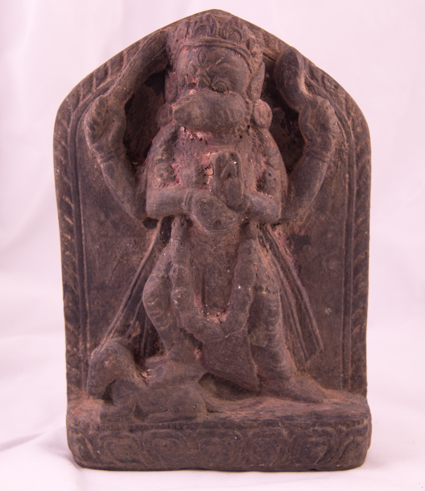 Antique blackstone Vajravarahi statue from Nepal