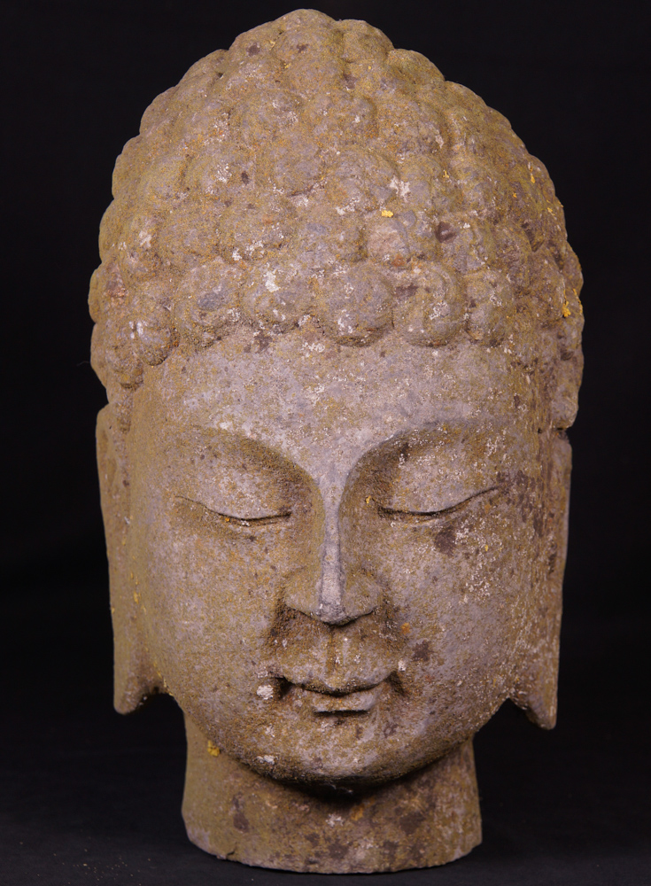 Old stone Buddha head from China