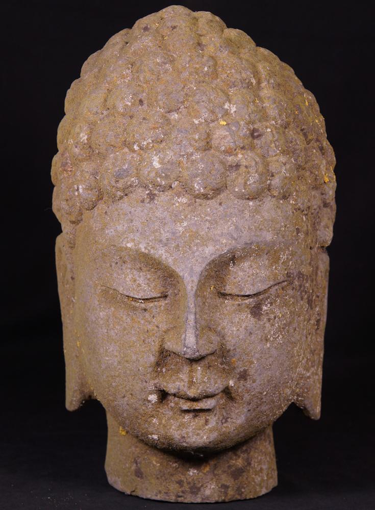 alte stein buddha kopf aus china gemacht aus granit stein. Black Bedroom Furniture Sets. Home Design Ideas