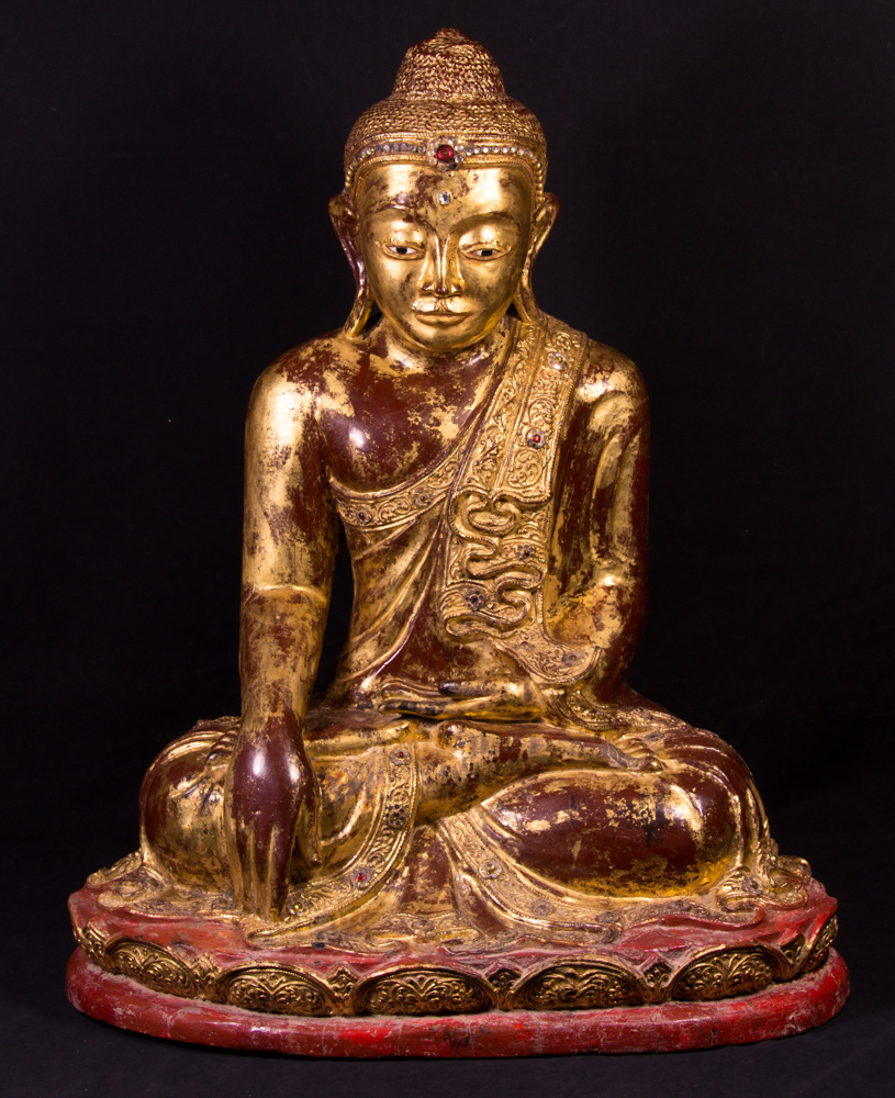 19th century wooden Mandalay Buddha from Burma