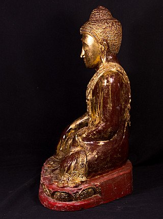 19th century wooden Mandalay Buddha