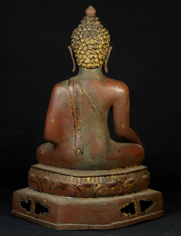 Old bronze Chiang Saen Buddha statue from Thailand made from Bronze