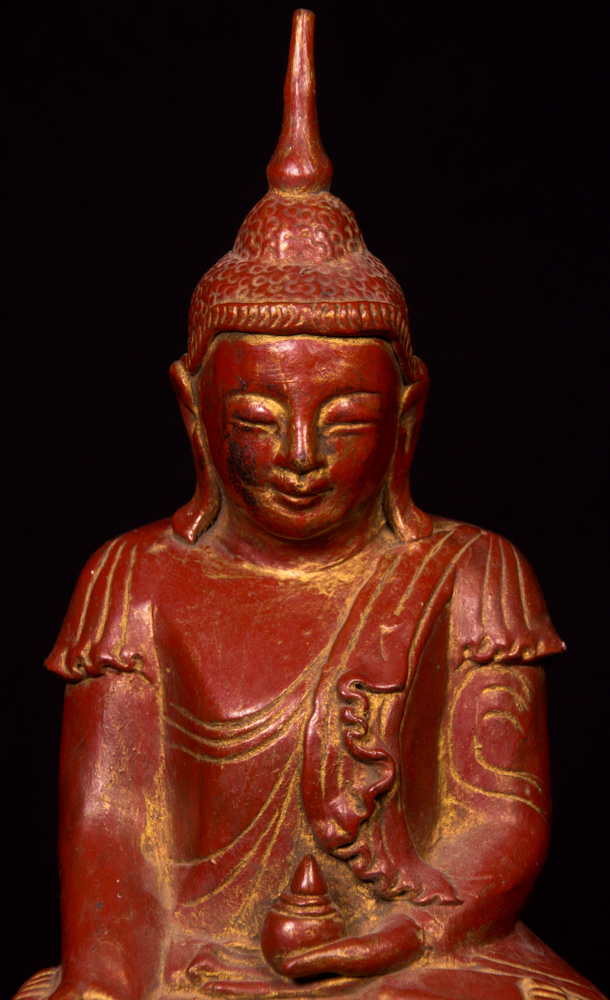 Old Burmese Shan Buddha statue from Burma made from Wood