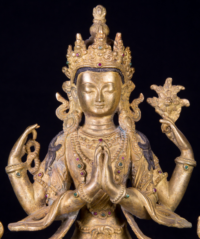 Old bronze Chengresi statue from Nepal made from Bronze