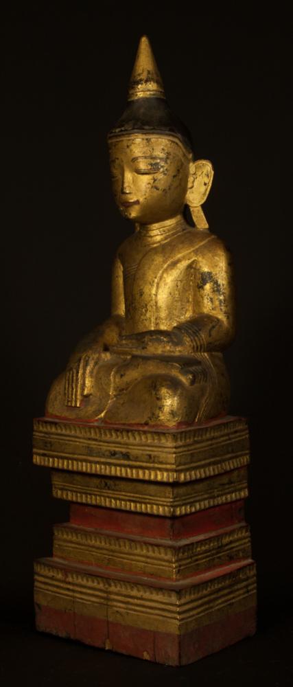antike shan buddha figur aus birma gemacht aus holz. Black Bedroom Furniture Sets. Home Design Ideas