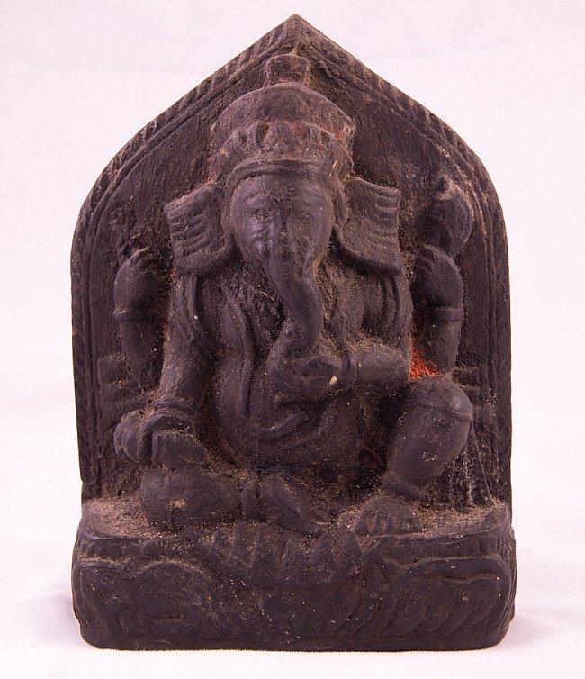 Antique black stone Ganesha statue