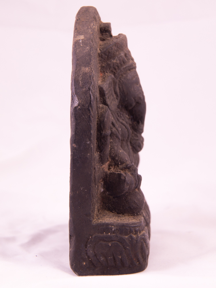 Antique black stone Ganesha statue from Nepal made from