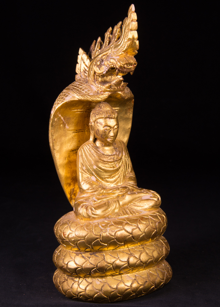 Antique wooden Naga Buddha statue from Burma made from Wood