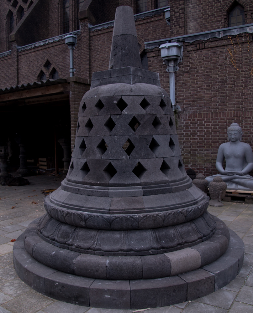 Large lavastone Stupa from Indonesia made from Lavastone