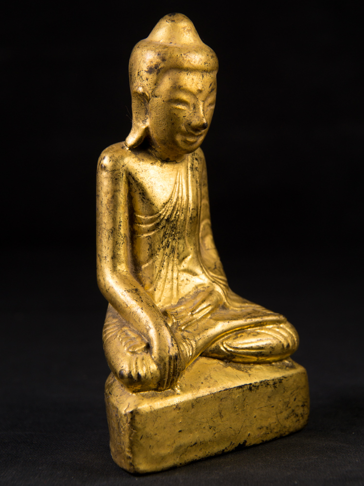 Antique lacquerware Buddha statue from Burma made from lacquer