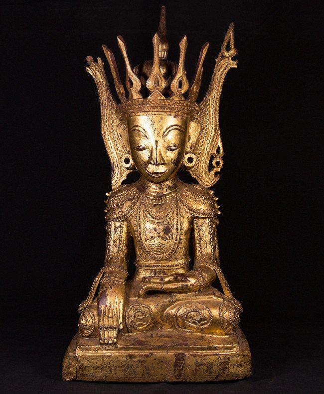 Antique Burmese crowned Buddha statue