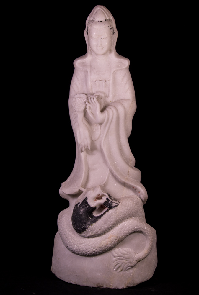 Old marble Guan Yin statue from Burma