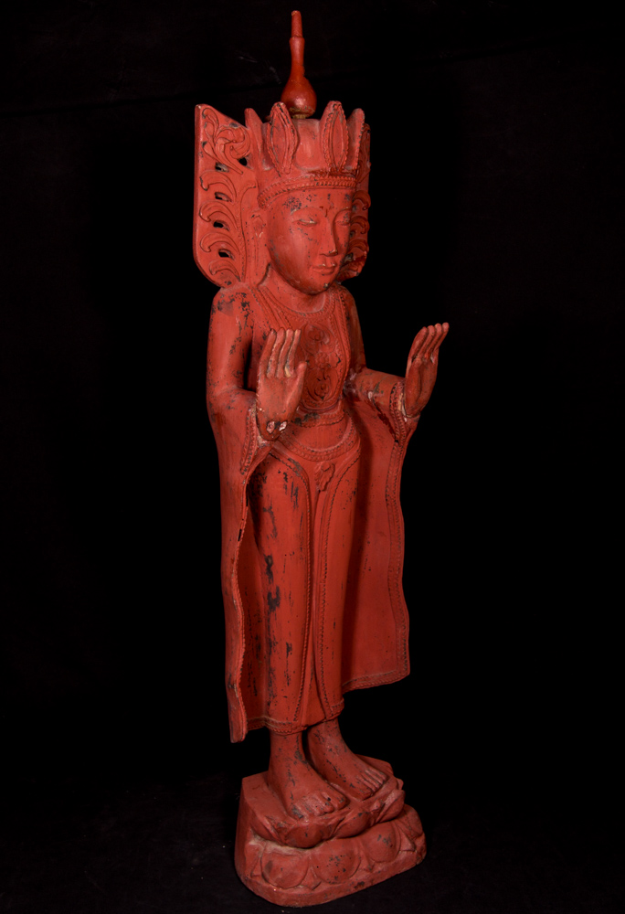 Old standing crowned Buddha statue from Burma made from Wood
