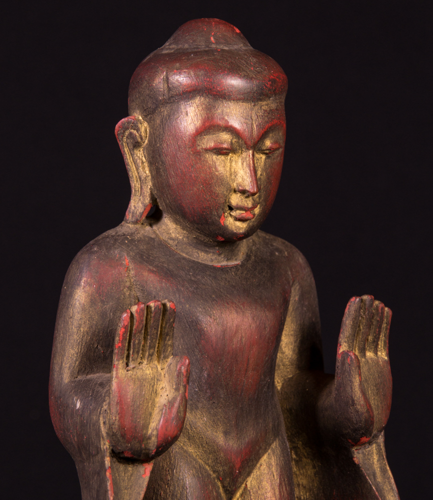 Old wooden Buddha statue from Burma made from Wood