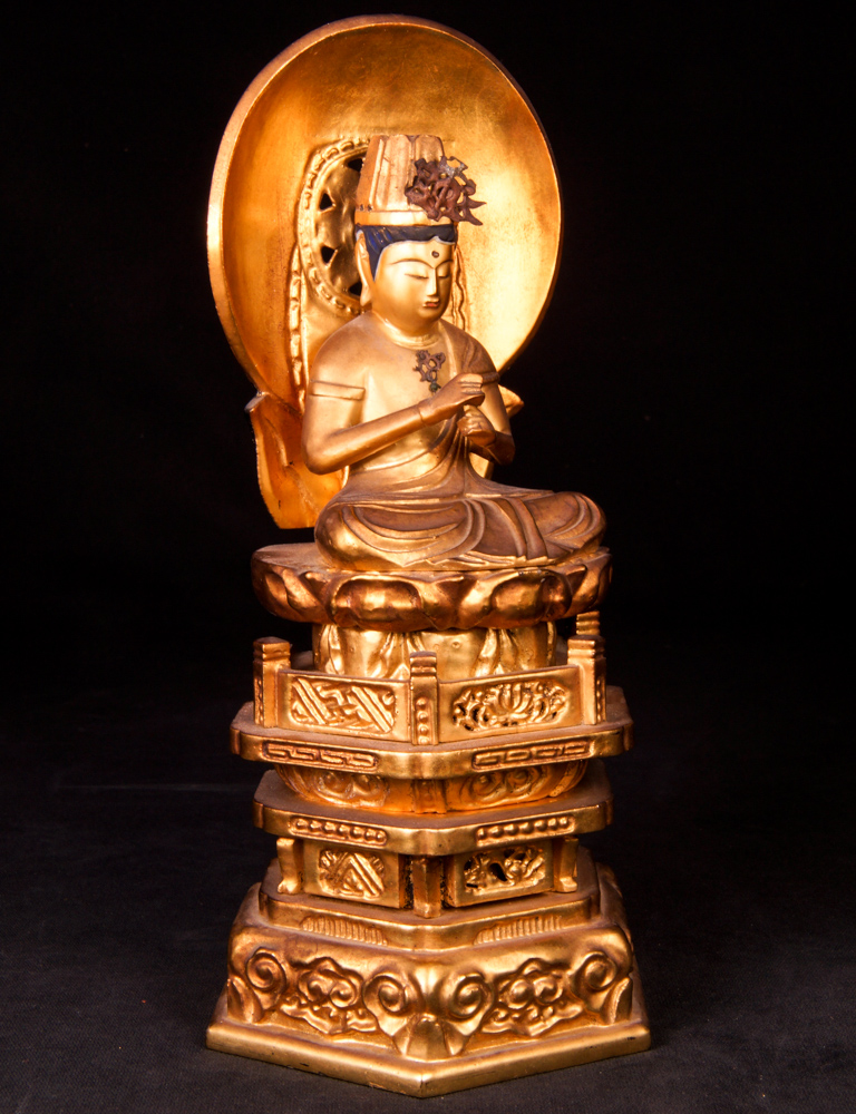 Antique Japanese temple shrine with Buddha statue from Japan made from Wood