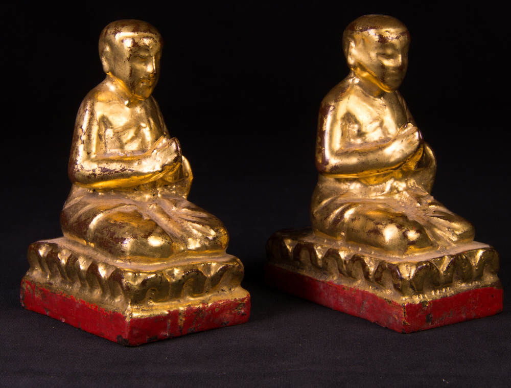 Set of antique monk statues from Burma made from Wood