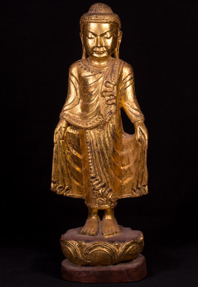 Alte Teakholzerne Buddha Figur Aus Birma Gemacht Aus Holz