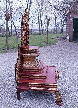 Large antique Burmese throne