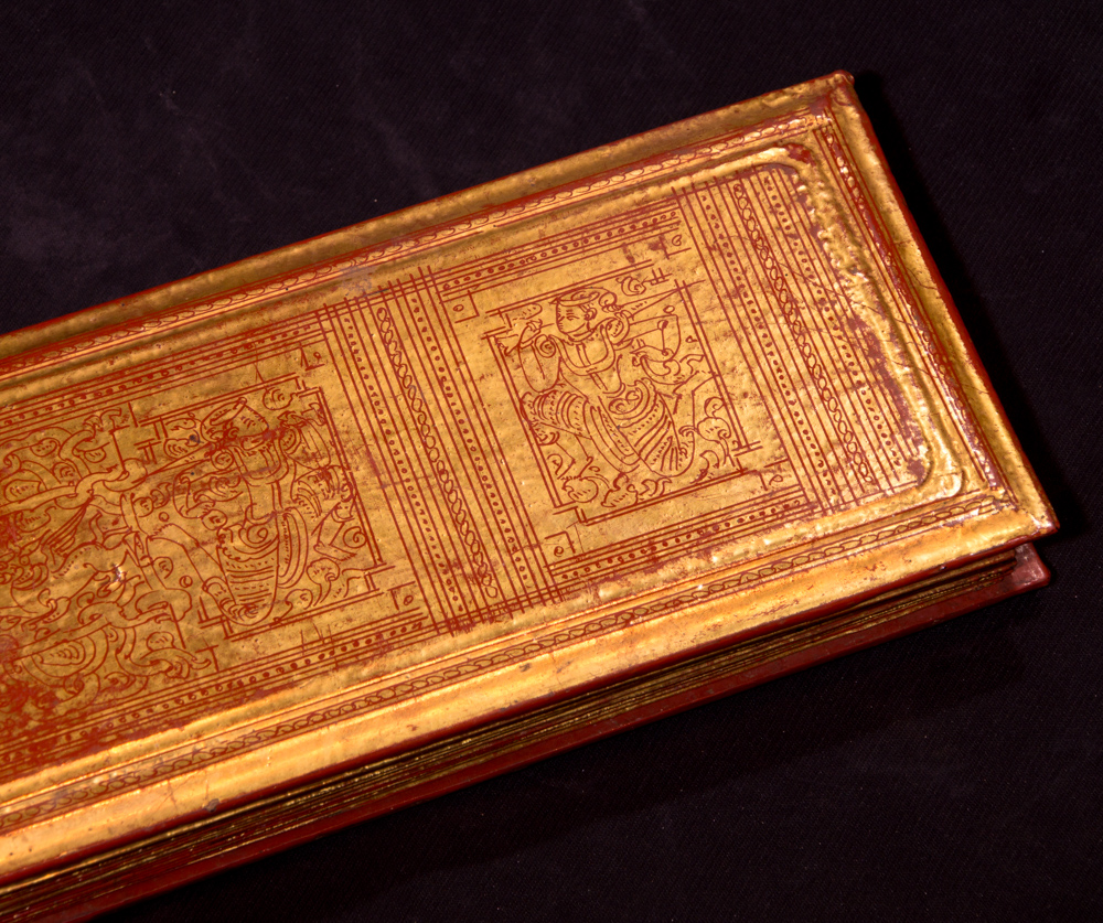 Antique Burmese Manuscript - Kammavaca book from Burma made from Lacquered palm leaves