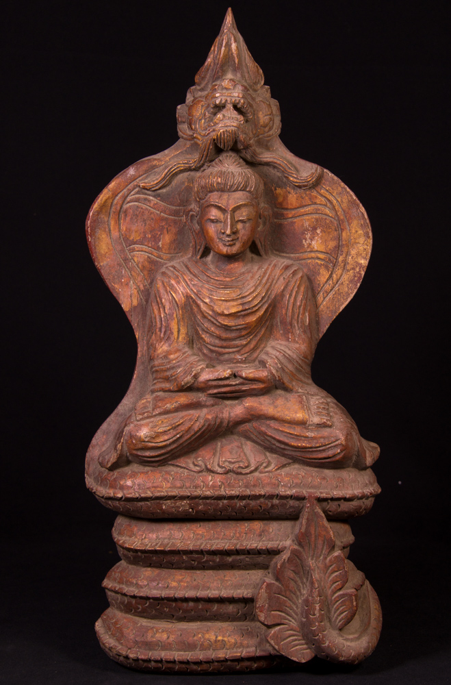 Old wooden Buddha plate from Burma