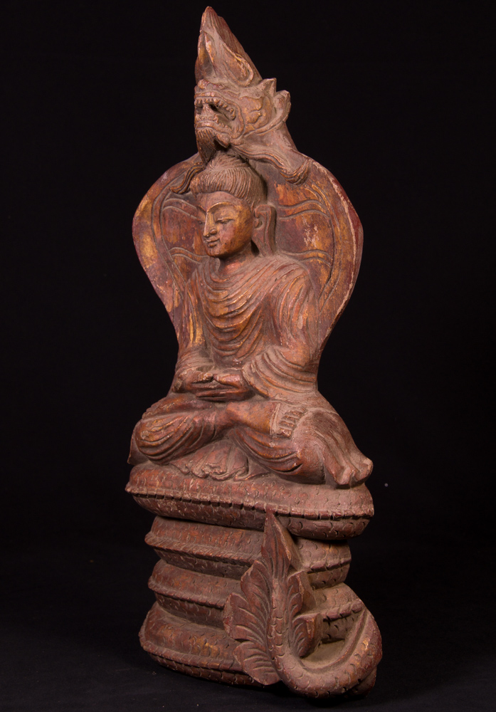 Old wooden Buddha plate from Burma made from Wood