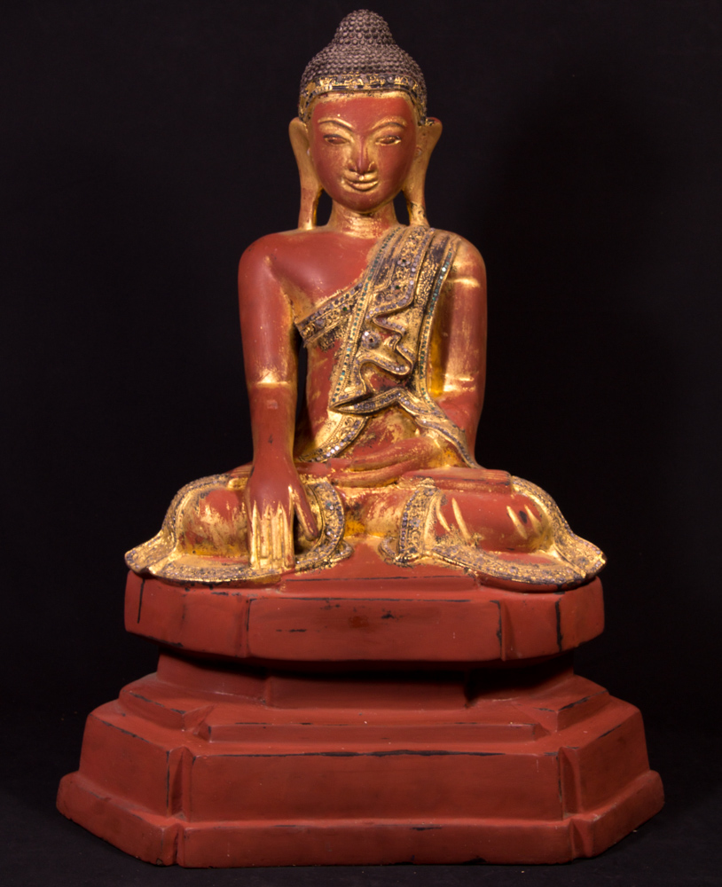 Antique Burmese Mandalay Buddha statue from Burma made from lacquer